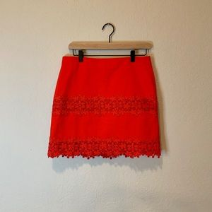 J. Crew Floral Red Skirt